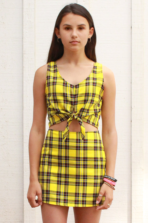Front Tie Tank Top and Skirt - Yellow Plaid