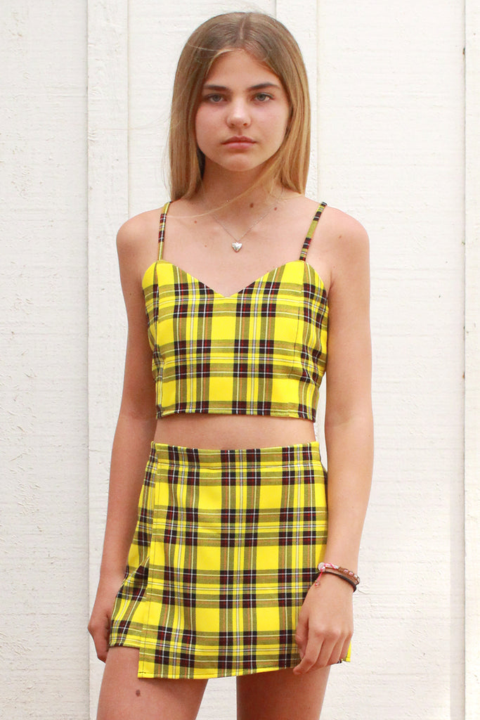 Adjustable Cami Top - Yellow Plaid