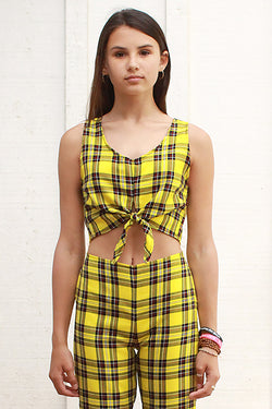 Front Tie Tank Top - Yellow Plaid