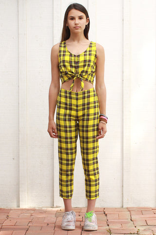 Front Tie Tank Top and Pants - Yellow Plaid