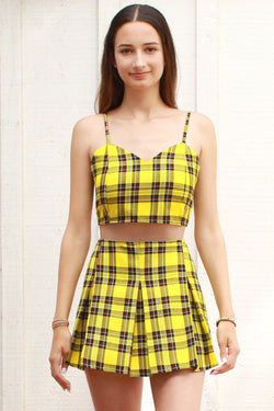 Adjustable Cami Top and  Pleated Skirt - Yellow Plaid