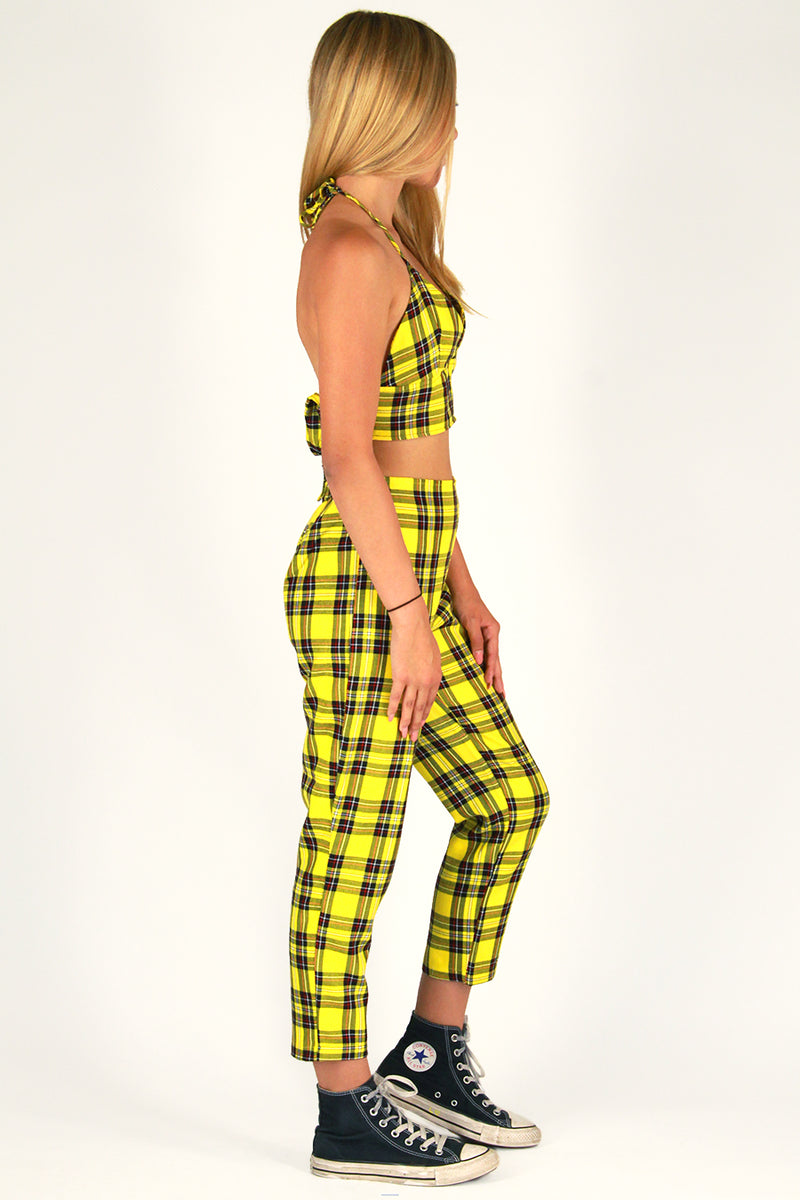 Halter Bralette and Pants - Yellow Plaid