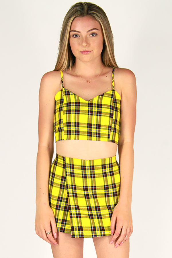 Adjustable Cami Top and Skorts - Yellow Plaid