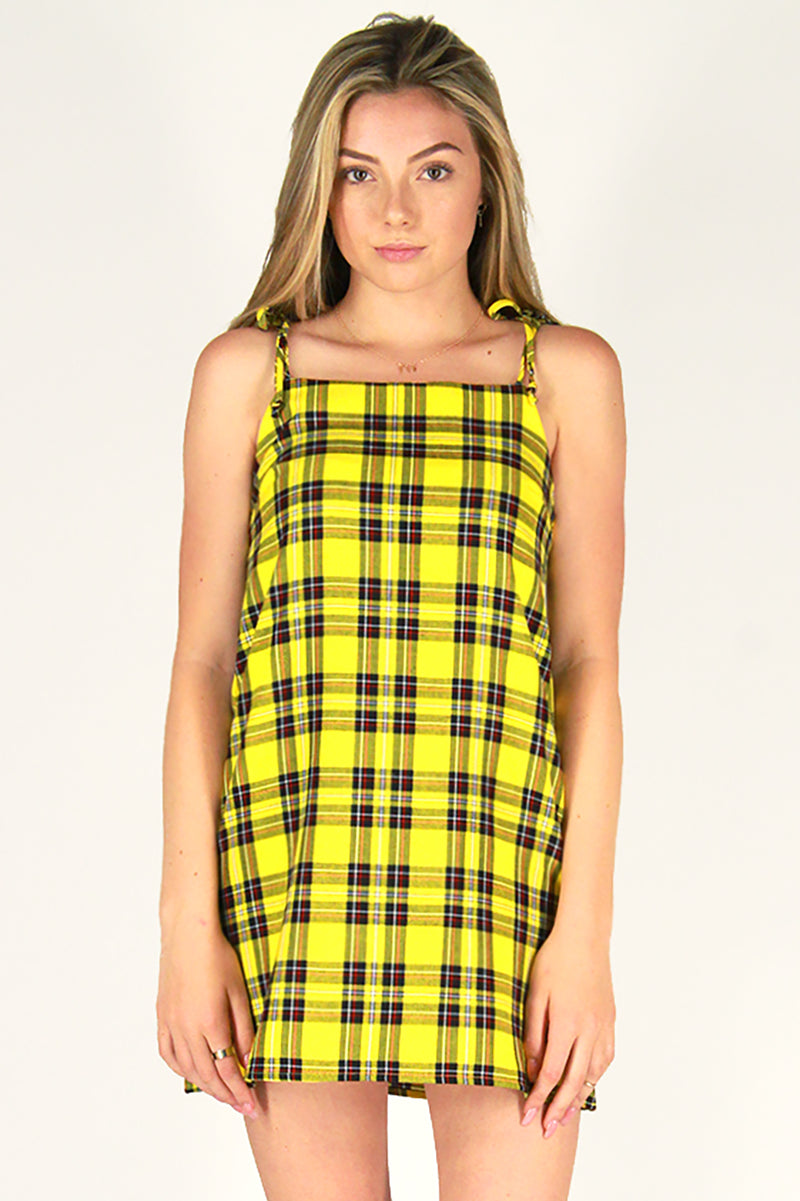 Ribbon Square Neck Dress - Yellow Plaid