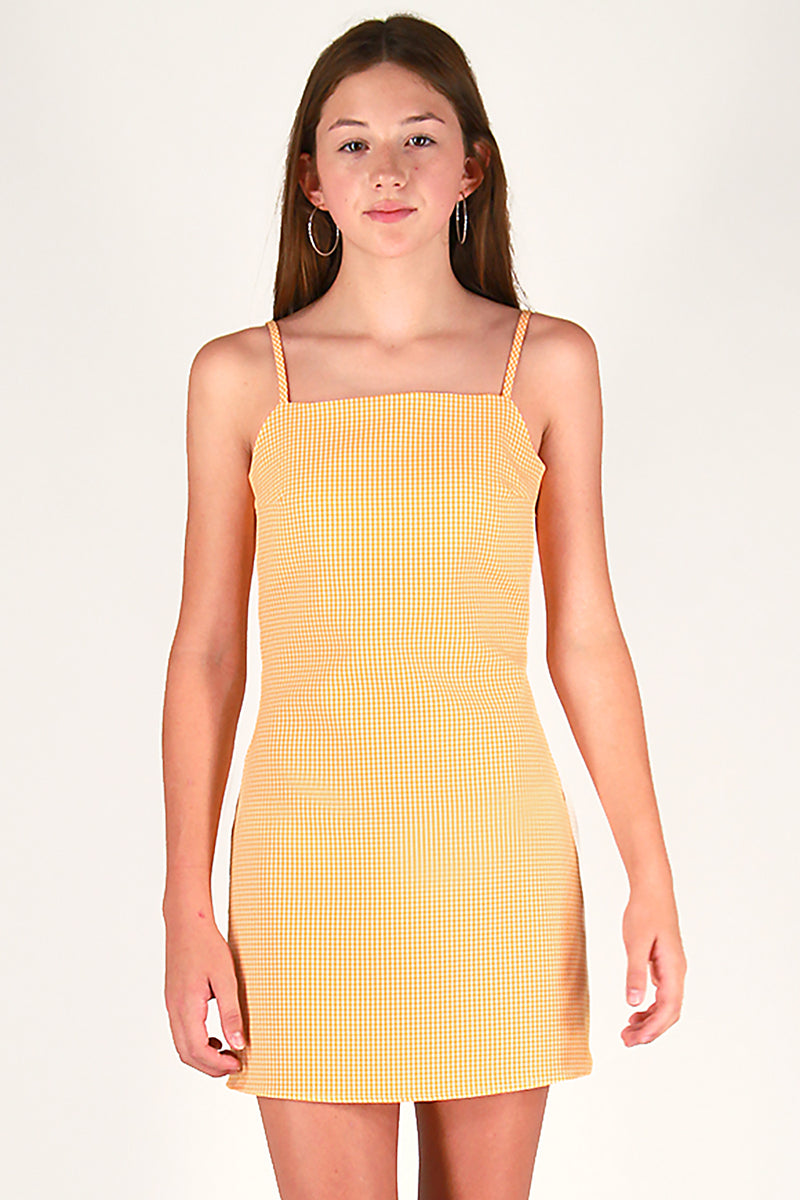 Fitted Square Strap Dress - Orange Gingham