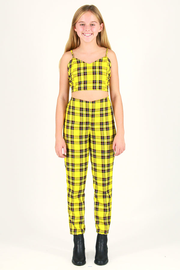 Adjustable Cami Top and Pants - Yellow Plaid