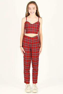 Cami Top and Pants - Red Plaid