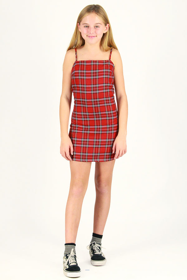 Fitted Square Strap Dress - Red Plaid