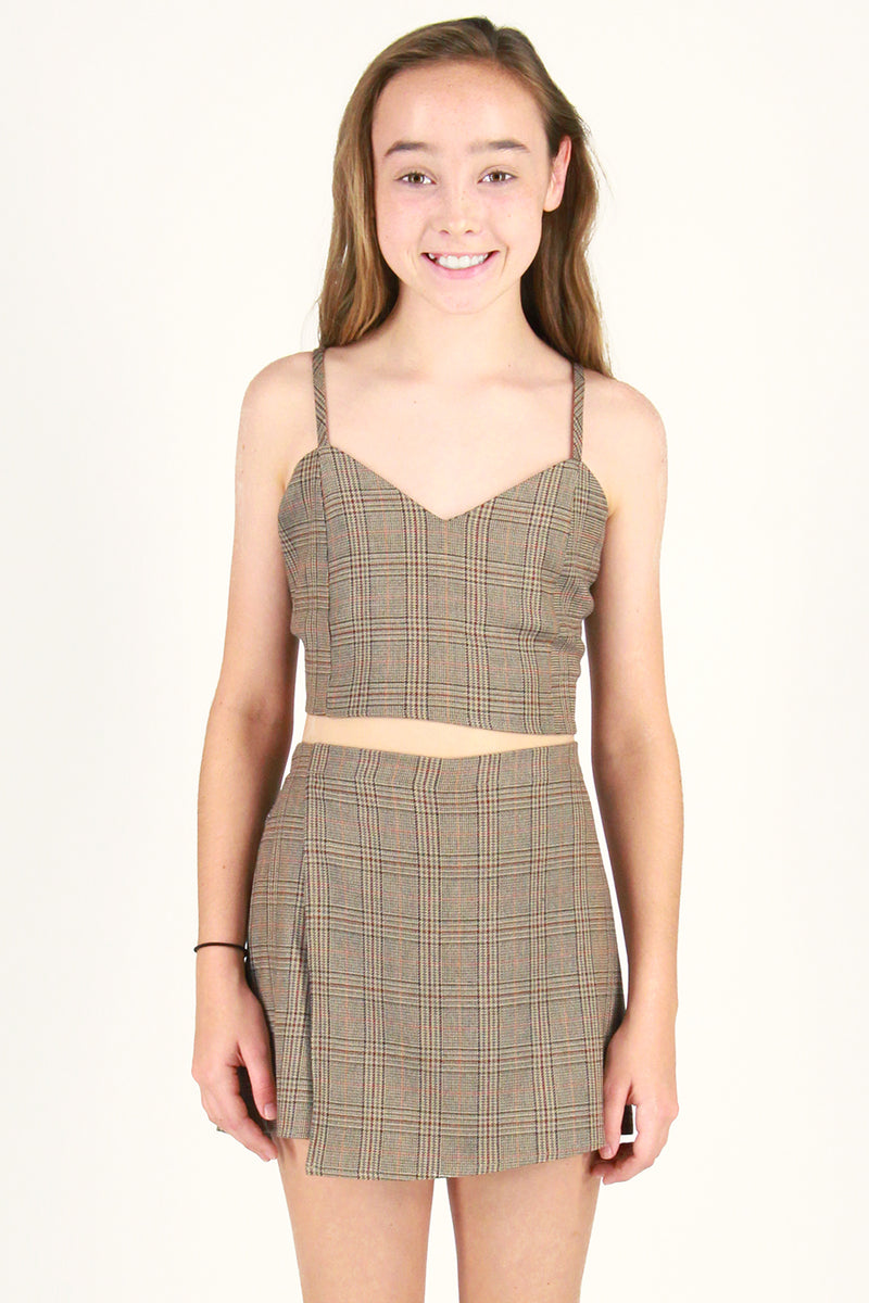 Adjustable Cami Top and Skorts - Beige Plaid