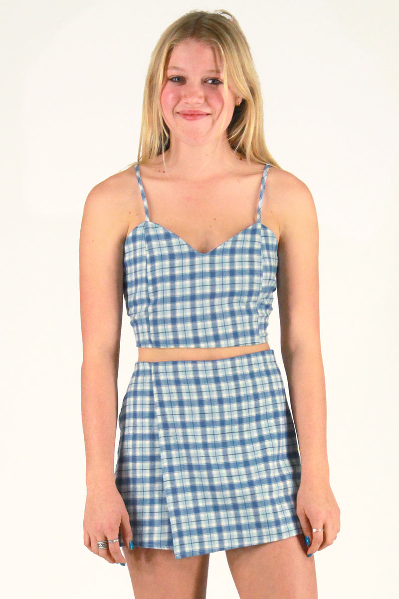 Adjustable Cami Top and Skorts - Flannel Blue Plaid