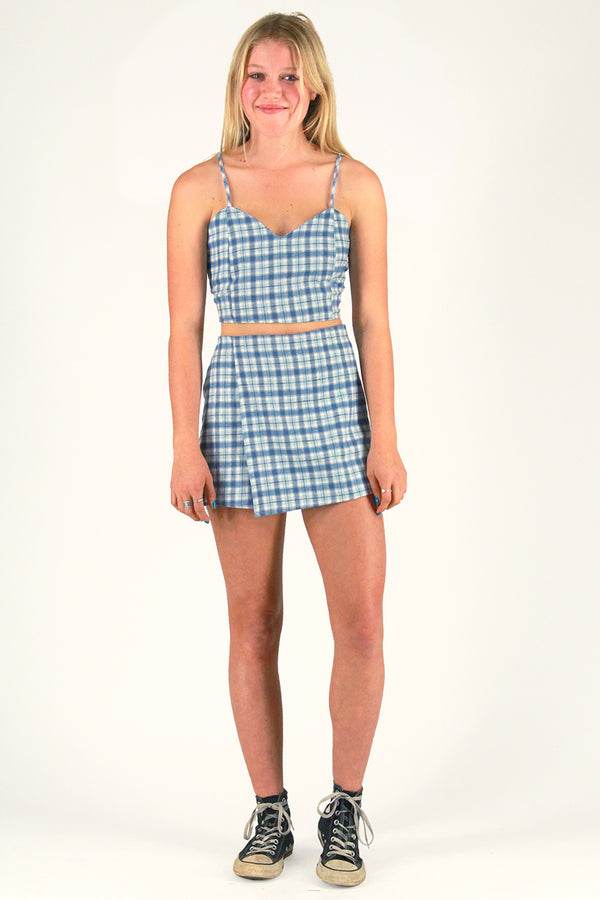 Adjustable Cami Top and Skorts - Flanel Blue Plaid