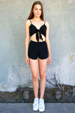 Front Tie Bralette and Shorts - Black Scrunchy