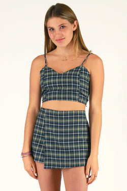 Adjustable Cami Top - Flannel Green Plaid