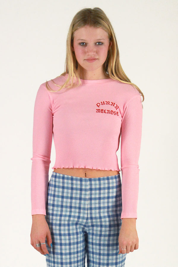 Purrr Melrose Ribbed Long Sleeve Shirt - Pink with Red Embroidered Logo