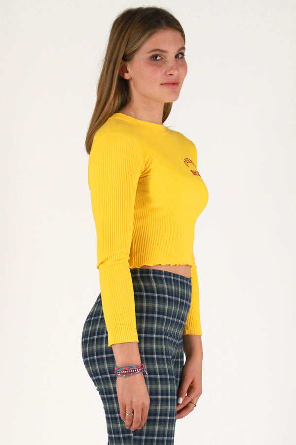 Purrr Melrose Ribbed Long Sleeve Shirt - Yellow with Red Embroidered Logo