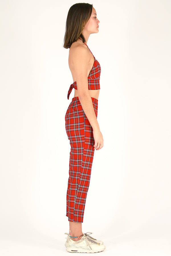 Halter Bralette and Pants - Red Plaid