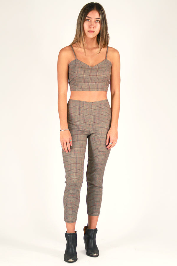 Cami Top and Pants - Beige Plaid