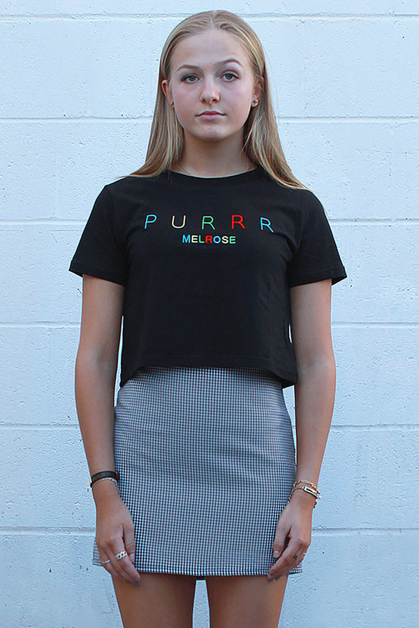 Purrr Melrose T-Shirt - Black with Embroidered Logo