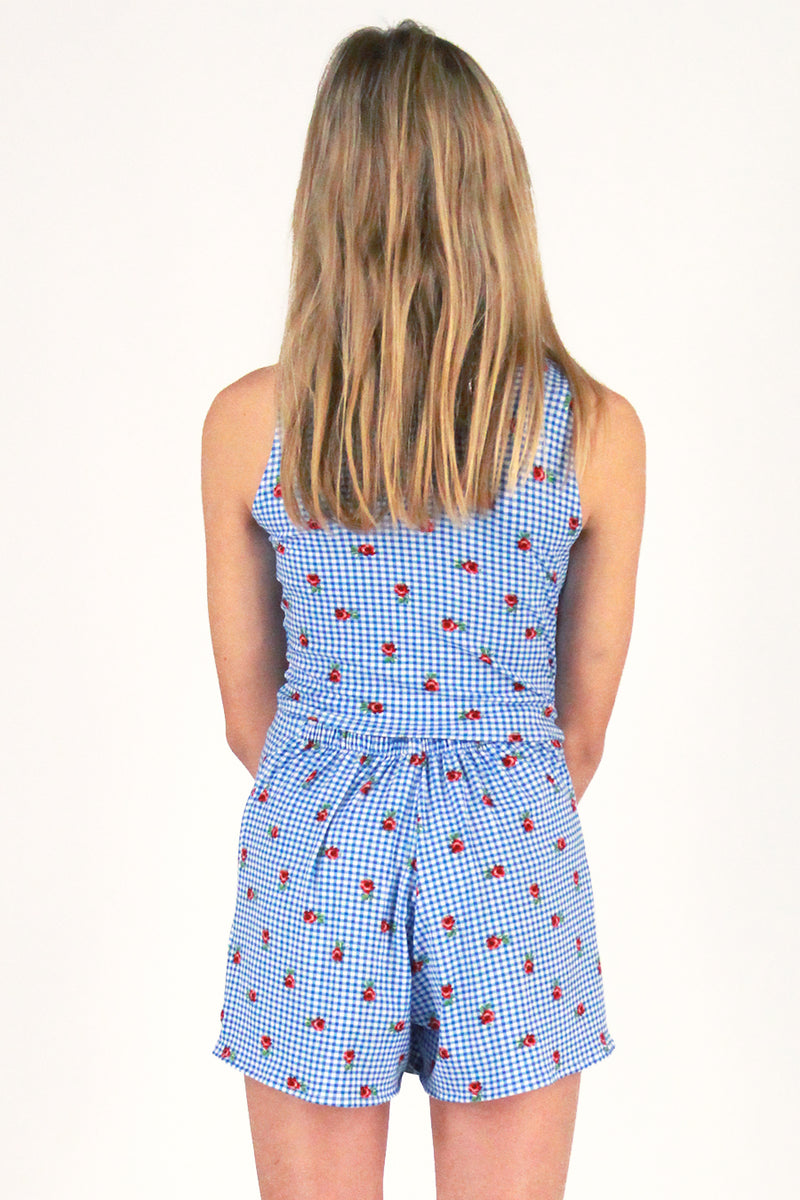 Tank Top - Stretchy Blue Checker with Roses