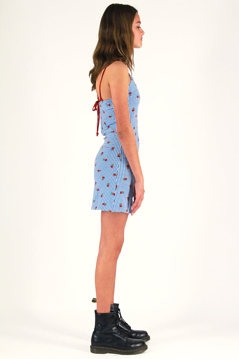 Adjustable Strap Dress - Stretchy Blue Checker with Roses