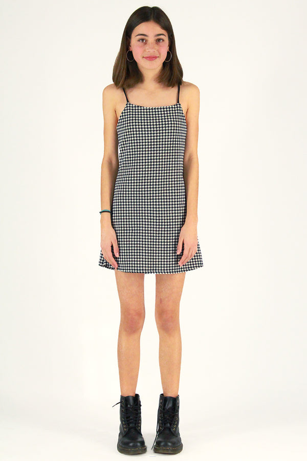 Adjustable Strap Dress - Stretchy Houndstooth