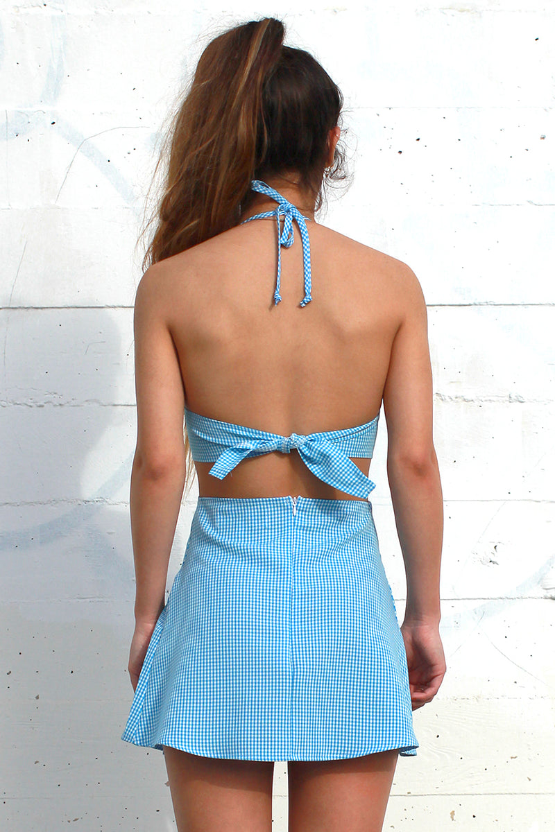 Pleated Skirt - Baby Blue Gingham