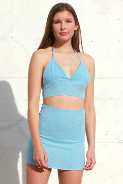 Bralette and Skirt - Baby Blue Gingham