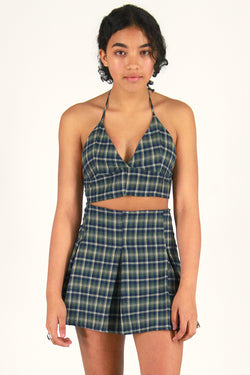 Halter Bralette and  Pleated Skirt - Flanel Green Plaid