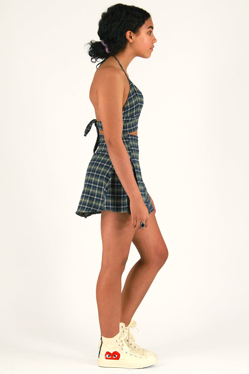 Pleated Skirt - Flannel Green Plaid