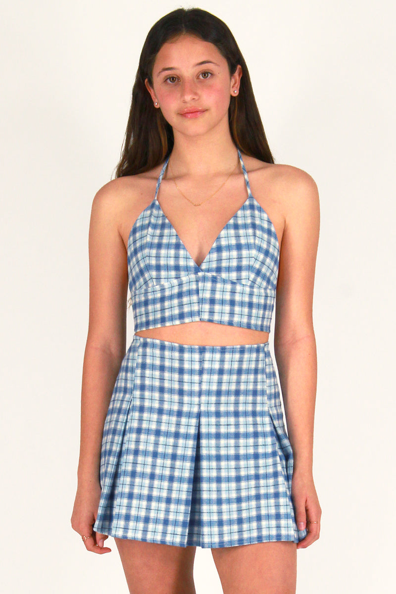 Bralette and  Pleated Skirt - Flannel Blue Plaid