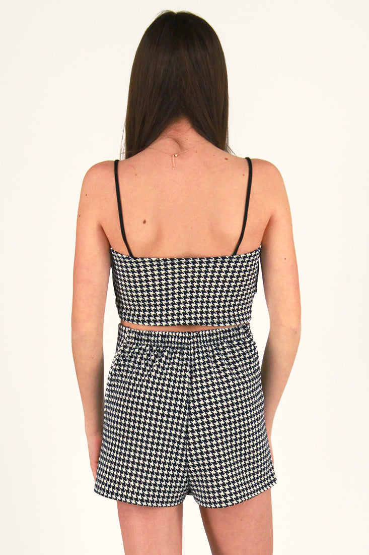 Cami Top - Stretchy Black and White Houndstooth