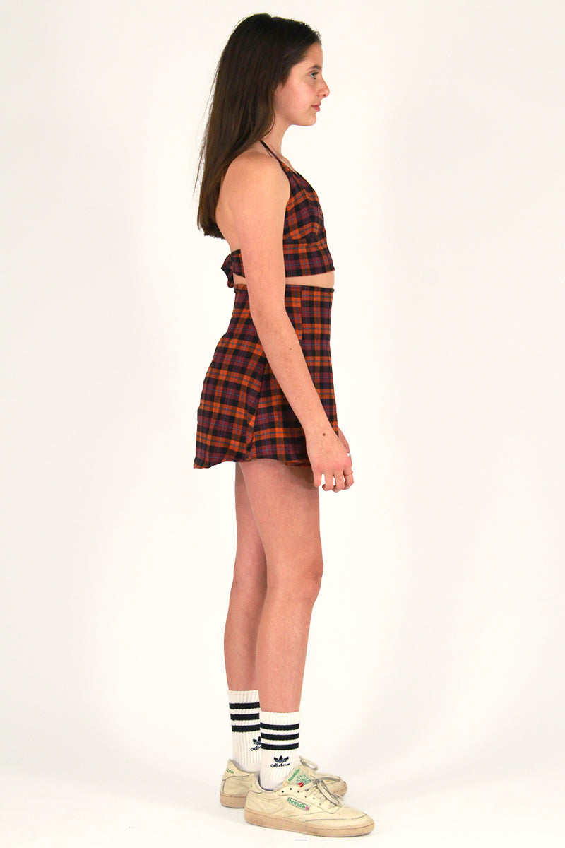 Pleated Skirt - Flanel Orange and Purple Plaid