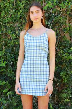 Adjustable Lace Back Dress - Flanel Blue Plaid