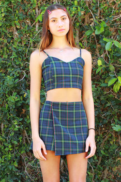 Adjustable Cami Top - Flannel Blue Green Plaid