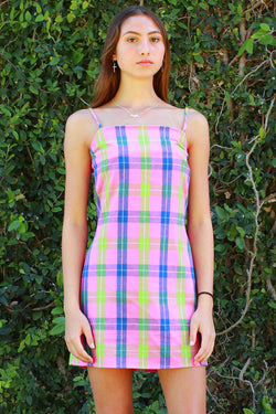 Fitted Square Strap Dress - Flanel Pink Plaid