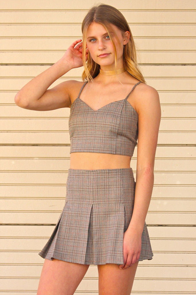 Adjustable Cami Top and Pleated Skirt - Beige Plaid