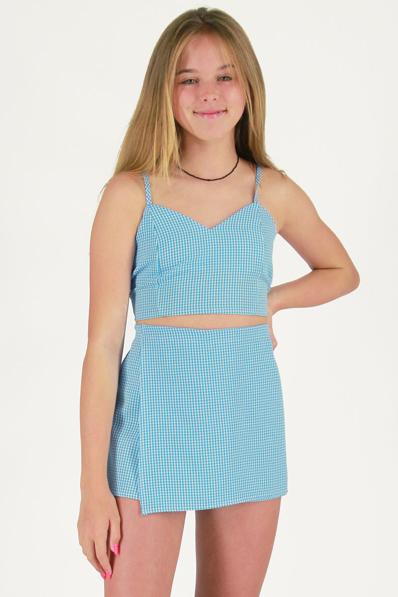 Adjustable Cami Top and Skorts - Blue Gingham
