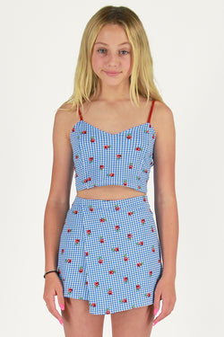 Cami Top and Skorts - Stretchy Blue Checker with Roses