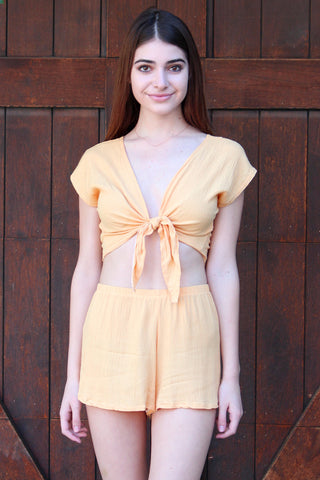 Front Tie Shirt and Shorts - Banana Scrunchy
