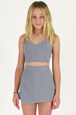 Adjustable Cami Top and Skorts - Black and White Gingham
