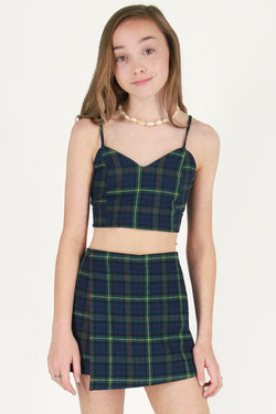 Adjustable Cami Top and Skorts - Flanel Blue Green Plaid