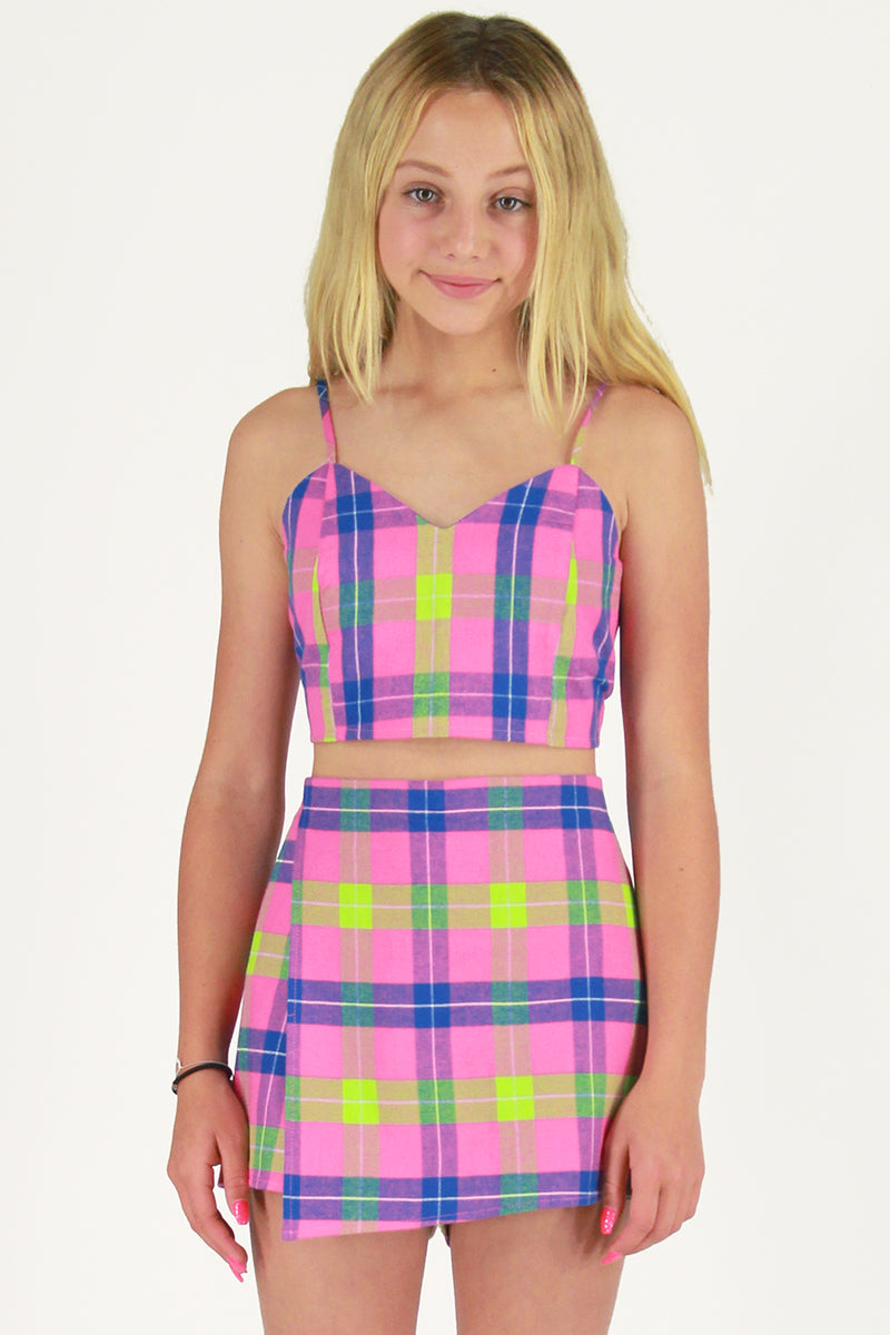 Adjustable Cami Top and Skorts - Flanel Pink Plaid