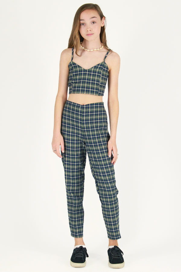 Adjustable Cami Top and Pants - Flanel Green Plaid