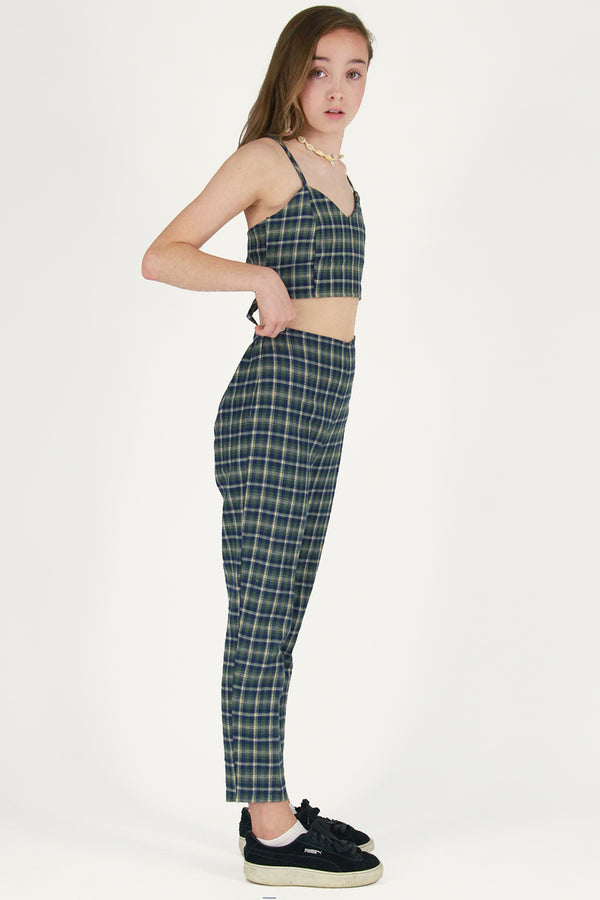 Adjustable Cami Top and Pants - Flannel Green Plaid