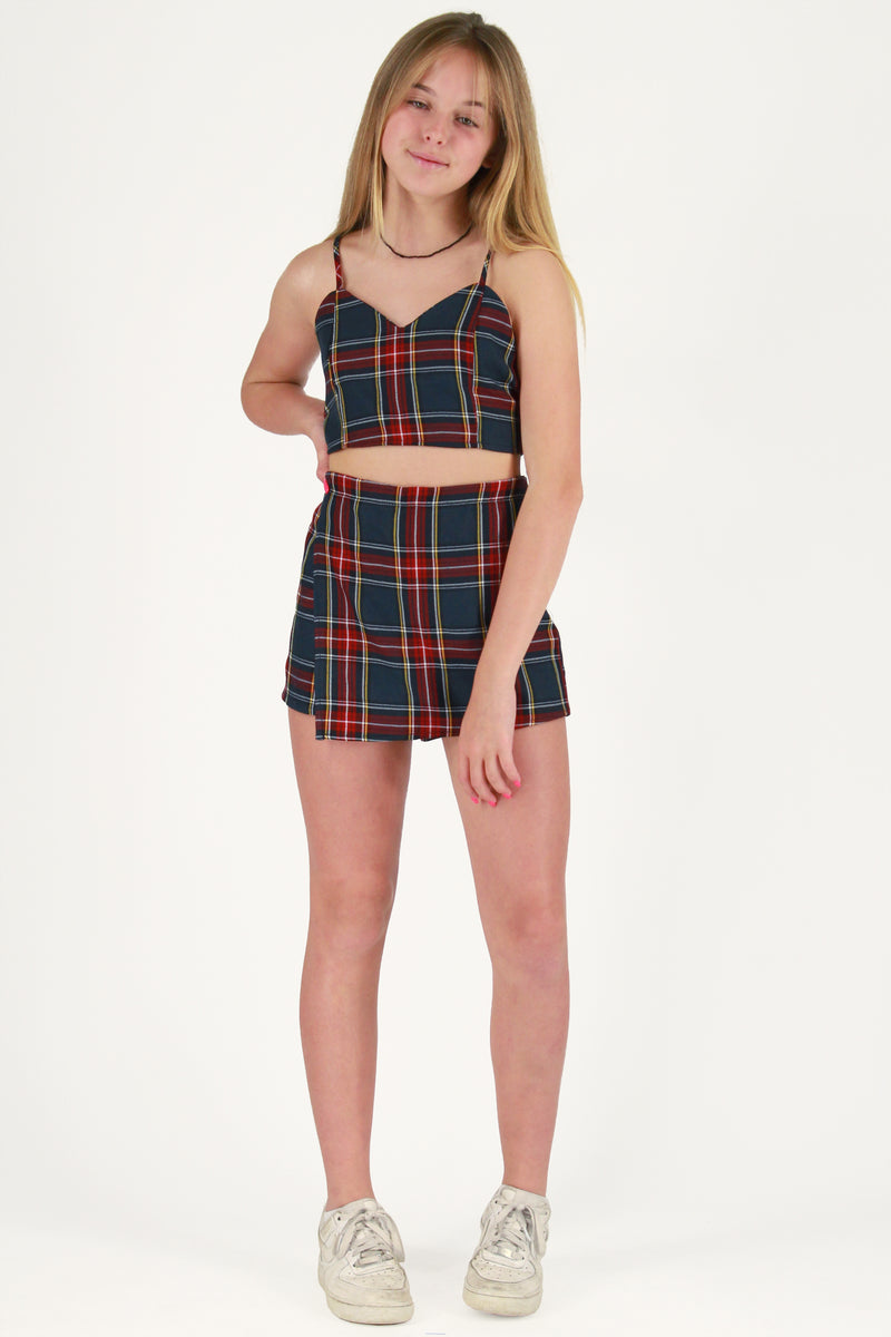 Adjustable Cami Top and Skorts - Tartan