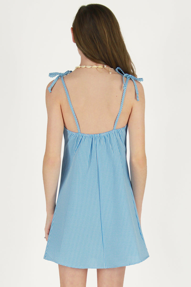 Ribbon Square Neck Dress - Baby Blue Gingham