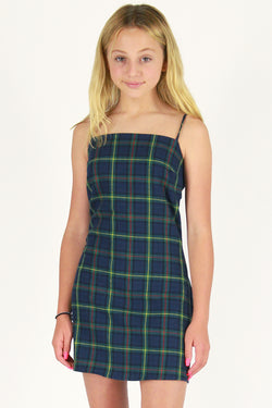 Fitted Square Strap Dress - Flannel Blue Green Plaid