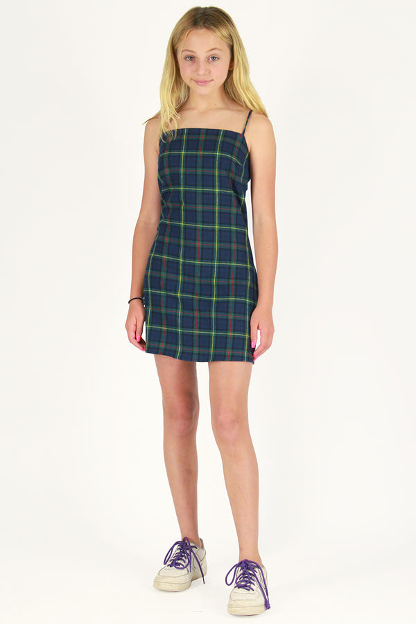 Fitted Square Strap Dress - Flanel Blue Green Plaid