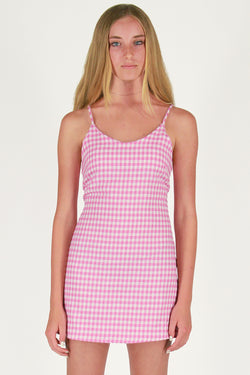 Adjustable Lace Back Dress - Flanel Pink Checker