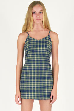 Adjustable Lace Back Dress - Flanel Green Plaid